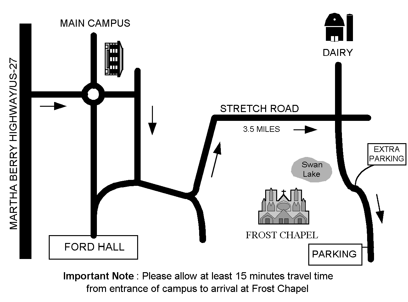 A general outline of the location of Frost Chapel.